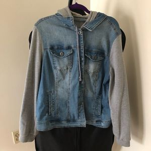 Size 2 Jean Jacket with French Terry Sleeves